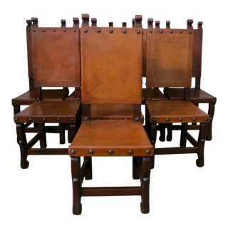 Spanish Walnut & Leather Dining Chairs C. 1920 - Set of 8