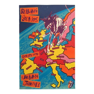 "Rare Vintage 1990 Rolling Stones "" Urban Jungle Europe Tour "" Original Lithograph Print Poster For Sale"