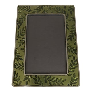 Contemporary Enameled Green & Pewter Botanical Picture Frame For Sale