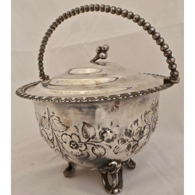 Art Nouveau Silver Plated Covered Bowl w. Floral Decoration For Sale - Image 13 of 13