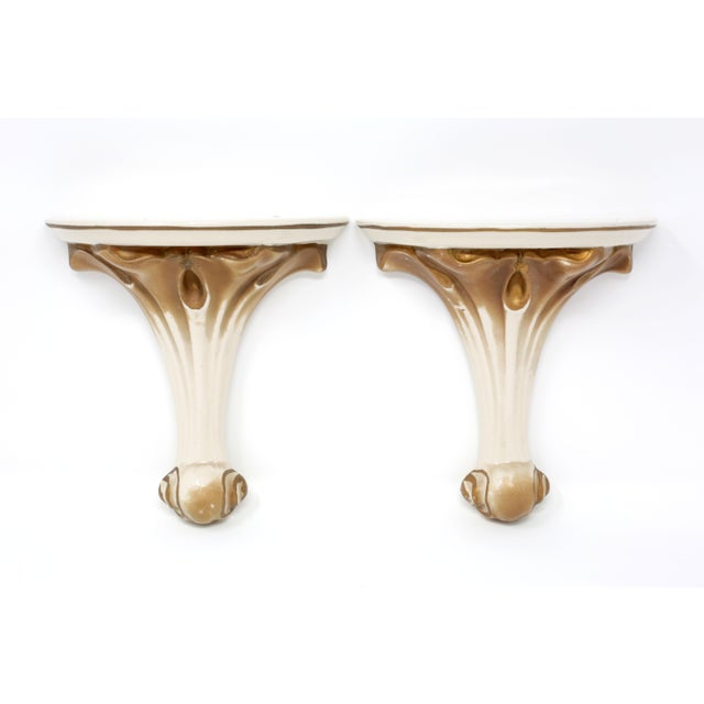 1930's Gold Gilt Ceramic Wall Shelves - a Pair For Sale - Image 11 of 11