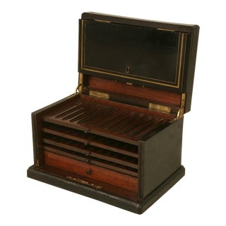 Napoleon III Syle Humidor in Black Lacquer with Brass Inlay For Sale