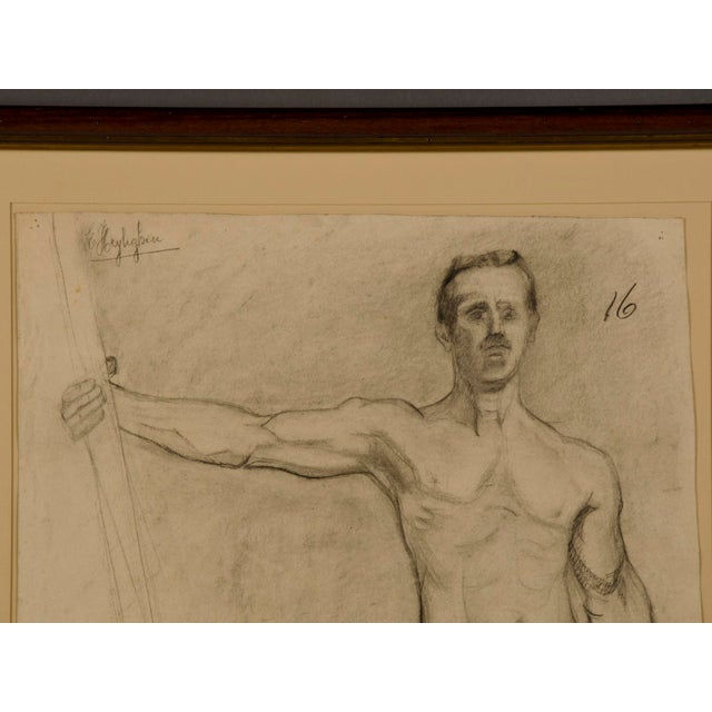 Figurative 19th Century Figurative French Original Drawing of Live Male Nude For Sale - Image 3 of 3