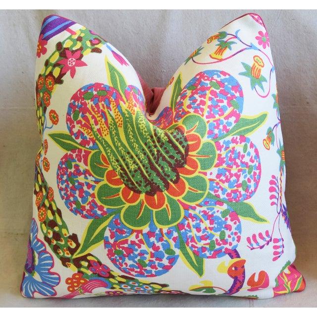 "Designer Josef Frank Floral Linen & Velvet Feather/Down Pillows 21"" Square - Pair For Sale - Image 11 of 13"