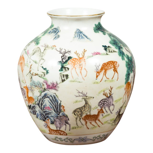 1920s Chinese Porcelain Vase with Gilt Accents, Deer and Mountain Motifs For Sale