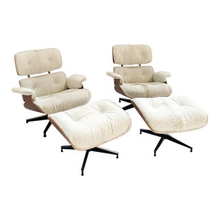 Charles and Ray Eames for Herman Miller Chairs and Ottomans Restored in Cowhide For Sale
