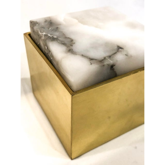 Alabaster Topped Brass Box For Sale - Image 5 of 6