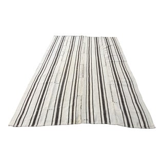 Turkish Handwoven Stripe Kilim Rug - 6′11″ × 11′1″