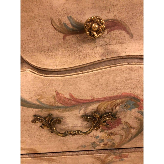 Venetian Scenic Bombe Chinoiserie Painted Commode with a Faux Marble Top For Sale - Image 9 of 11