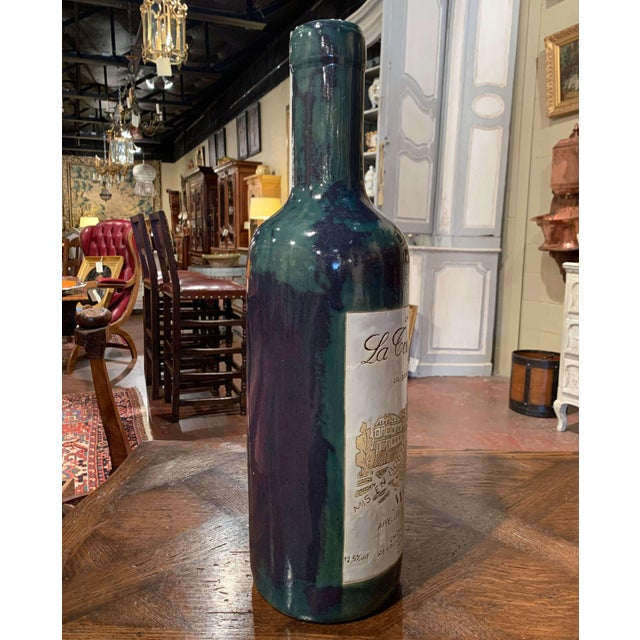 Tall Vintage French Trompe l'Oeil Ceramic Methuselah Wine Bottle of Bordeaux For Sale - Image 10 of 12