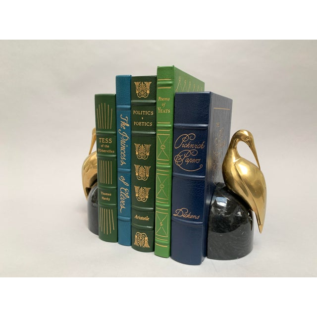 Art Deco Brass and Marble Egret or Crane Bookends – a Pair For Sale - Image 9 of 13