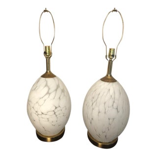 Hollywood Regency Murano Egg-Shaped Lamps - a Pair For Sale