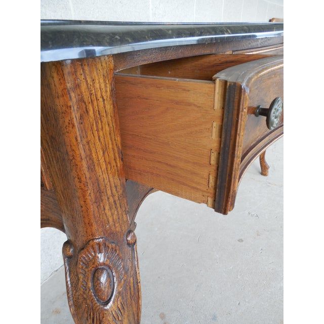 """CENTURY FURNITURE CO. Oak French Country Faux Marble Top Console 66.5""""Wide (A) For Sale In Philadelphia - Image 6 of 9"""