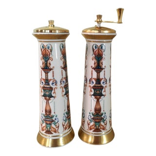 Porcelain Lenox Lido Salt & Pepper Mill Set - A Pair For Sale