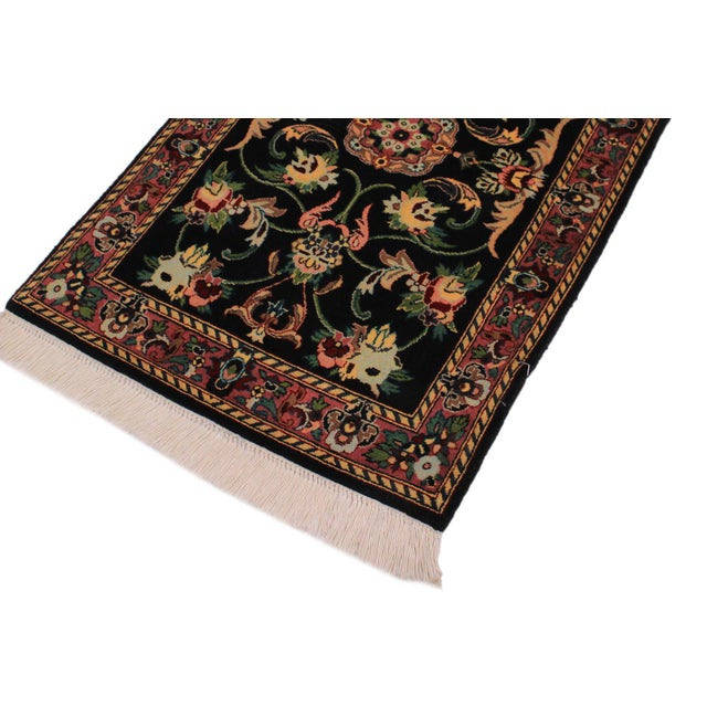 Traditional 1950s Victorian Anarkali Pak-Persian Yanira Black Wool Rug - 2′1″ × 3′2″ For Sale - Image 3 of 9