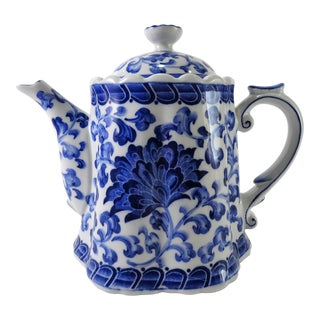 Cobalt Blue & White Hand Painted Tea Pot For Sale