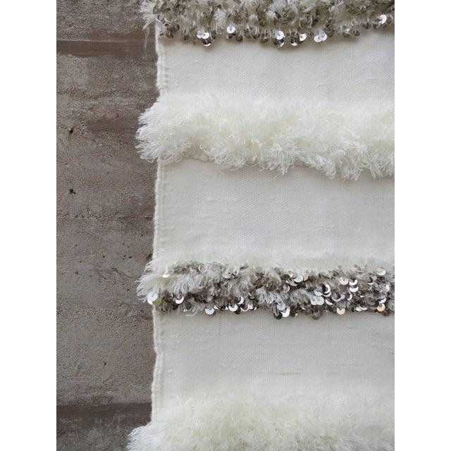 Blanc' Sequins & Fringe Moroccan Wedding Blanket For Sale - Image 5 of 6