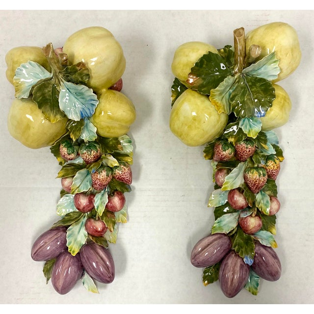 Vintage Italian Porcelain Hand Painted Fruit and Floral Wall Decor - a Pair For Sale - Image 4 of 5