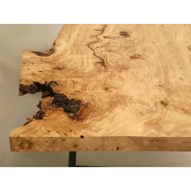 Wood French Burl Elm Slab Dining Table, or Desk For Sale - Image 7 of 11