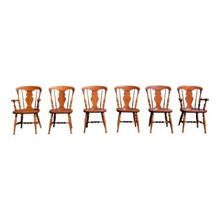 Vintage Mid Century Colonial Heywood Wakefield Maple Dining Chairs- Set of 6 For Sale
