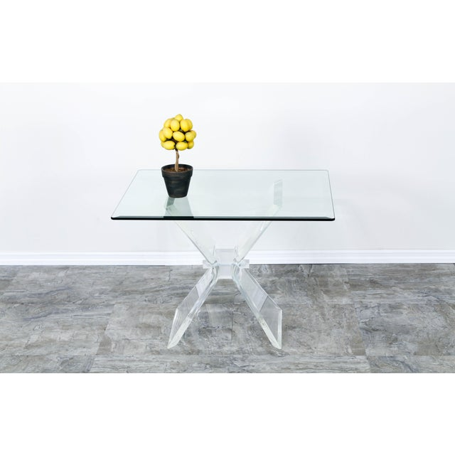 Lucite Butterfly X Base Side Table For Sale - Image 9 of 10