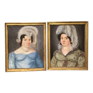 Charming Pair of Early 19th Century Portraits of Two Fashionable Sisters For Sale