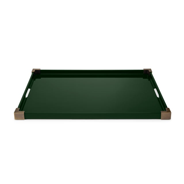Contemporary Corners Tray Brass in Bottle Green / Brass - Rita Konig for The Lacquer Company For Sale - Image 3 of 4