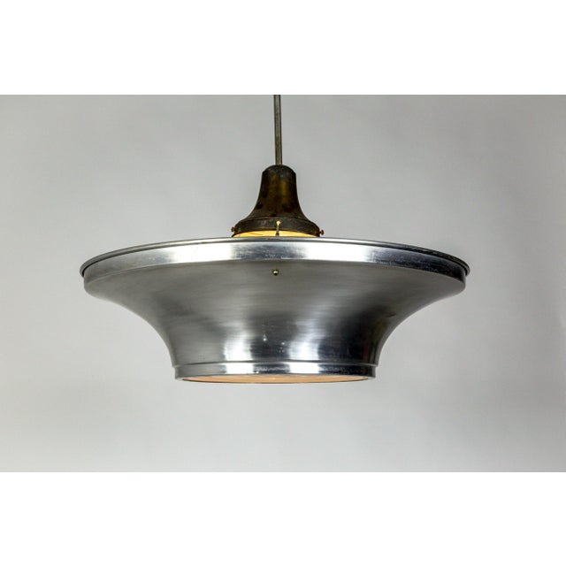 Art Deco Aluminum Dish Pendants W/ Unique Glass Diffusers (2 Pairs Available) For Sale In San Francisco - Image 6 of 13