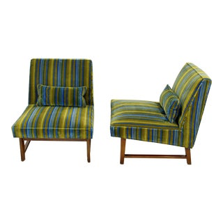 Mid-Century Modern Wormley for Dunbar Slipper Chairs Lenor Larsen Fabric - A Pair For Sale