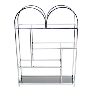Vintage Mid Century Large and Wide Chrome and Glass Etagere For Sale