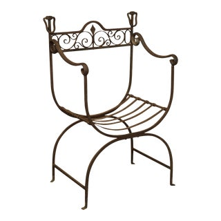 Vintage Wrought Iron Cerule Seat Garden Armchair For Sale