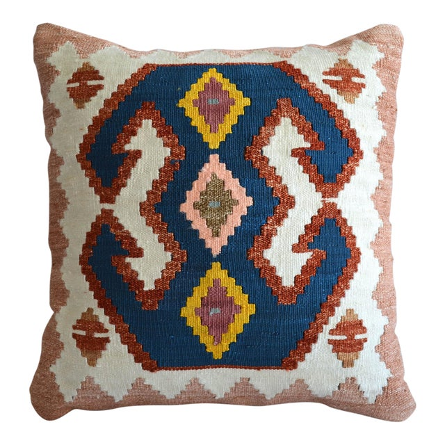 Turkish Hand-Made Kilim Pillow Silk Cushion Cover - 16″ X 16″ For Sale