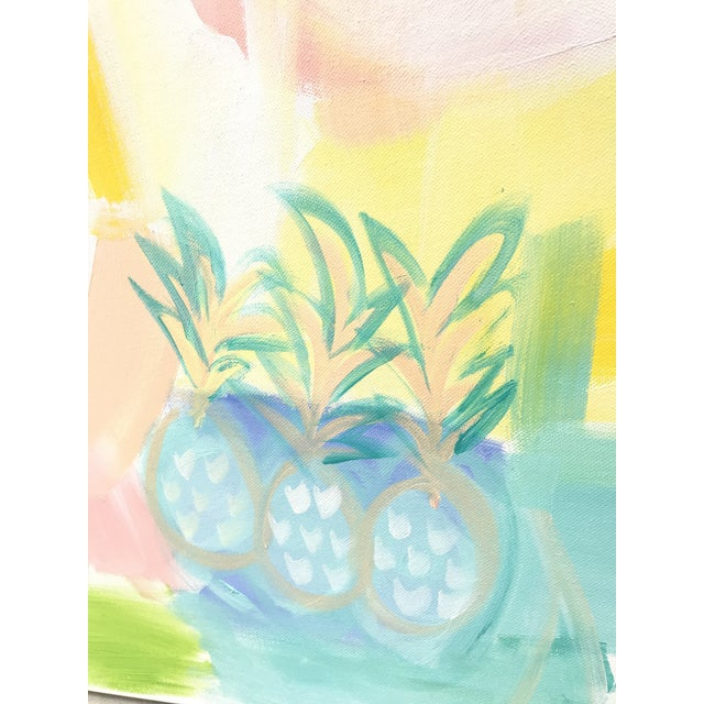 """Abstract Christina Longoria """"Pineapple Punch"""" Contemporary Painting For Sale - Image 3 of 5"""