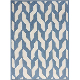 Zara Trellis Blue Flat-Weave Rug 3'x5' For Sale