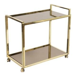 1980s Regency Style Golden Bar Cart Made of Gilt Metal For Sale