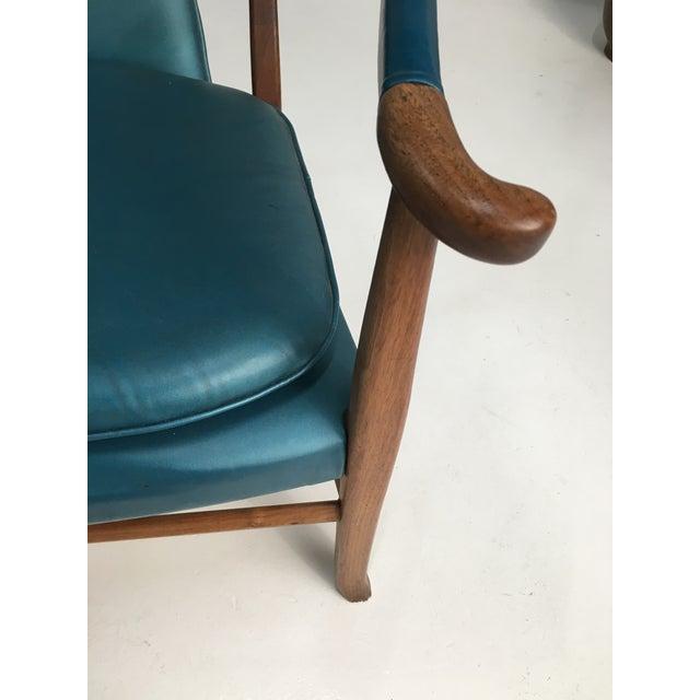 Wood Mid-Century Walnut Ming Horseshoe-Style Slipper Armchair For Sale - Image 7 of 13
