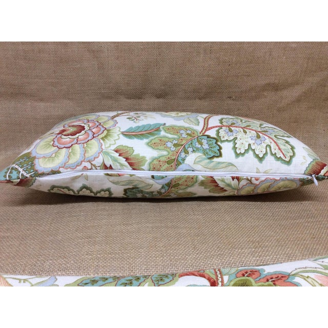 Contemporary Floral Linen Pillow For Sale - Image 4 of 8