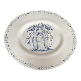 Vintage Italian White Blue Faience Oval Serving Platter For Sale