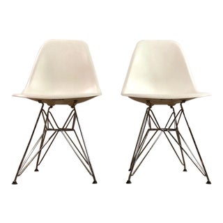 Modern Molded Plastic Eiffel Base Chairs by Charles and Ray Eames- A Pair For Sale