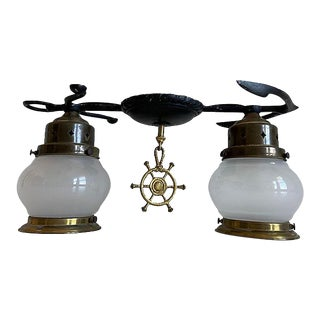 1950s Maritime Anchor Flush Light For Sale