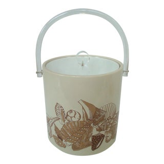 Nautical Ice Bucket Seashells Lucite For Sale