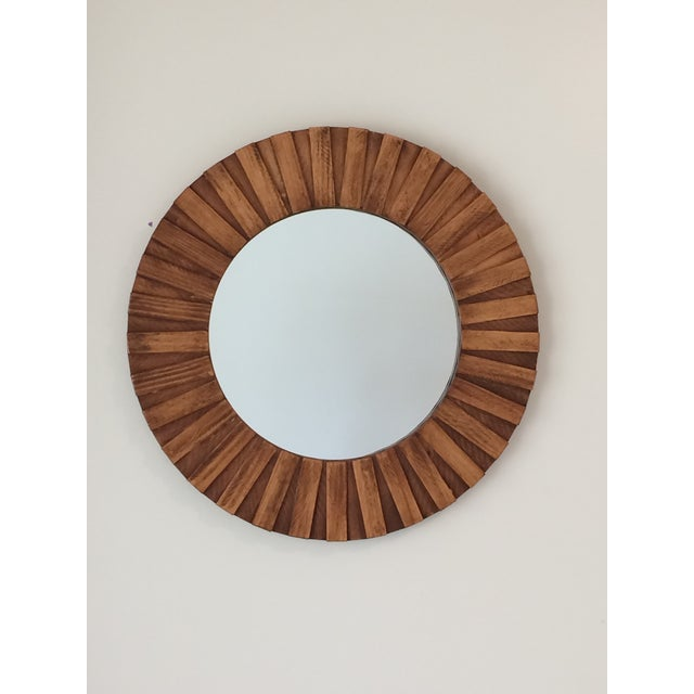 """Brown Round Wall Mirror Teak Color 26"""" For Sale - Image 8 of 11"""