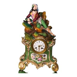 Antique Old Paris Porcelain Figural French Mantel Clock For Sale