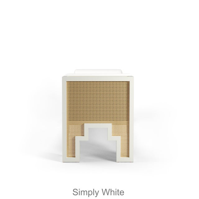 Contemporary Alexandra Bench - Coral Dust, Optic White Linen For Sale - Image 3 of 5