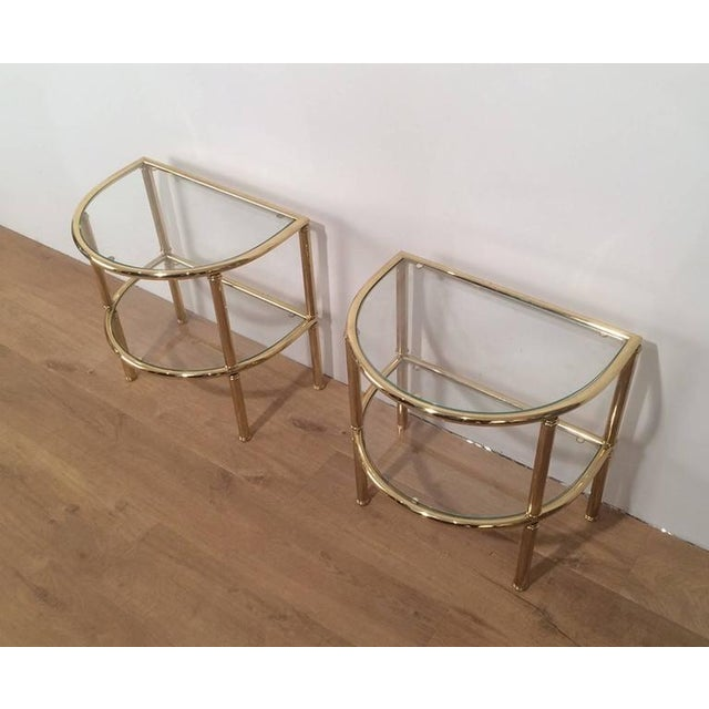Pair of French Demi Lune Shaped Brass Side Tables For Sale - Image 9 of 10