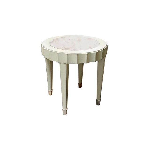 Transitional Fremarc Designs Beverly Round End Table For Sale - Image 3 of 3