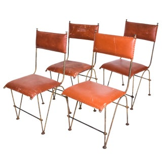 Set of Four Modernist Dining Chairs Attr Jean Michel Frank , Forged Rebar Iron & Leather For Sale