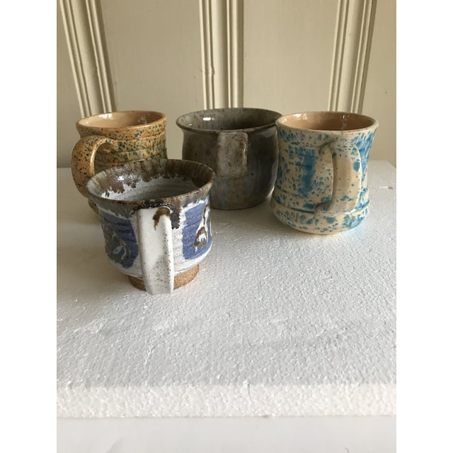 Vintage Boho Handmade Pottery Cups - Set of 4 For Sale In Los Angeles - Image 6 of 10