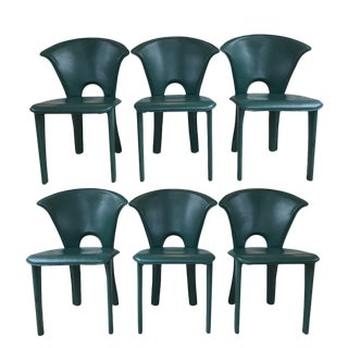 Vintage Italian Leather Green Chairs - Set of 6 For Sale