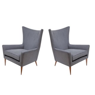 Pair of Morton Curved Back Wing Chairs For Sale